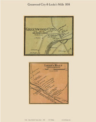 Greenwood City & Locke's Mills, Maine 1858 Old Town Map Custom Print - Oxford Co.