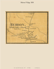 Hebron Village, Maine 1858 Old Town Map Custom Print - Oxford Co.