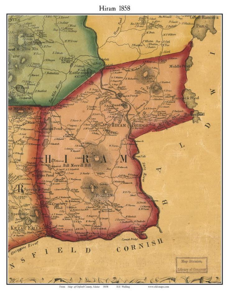 Hiram Maine Map.Hiram Maine 1858 Old Town Map Custom Print Oxford Co Old Maps