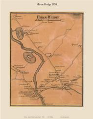 Hiram Bridge, Maine 1858 Old Town Map Custom Print - Oxford Co.
