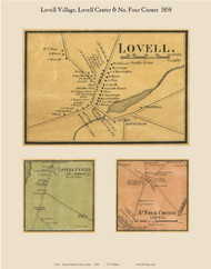 Lovell Village, Lovell Center & No Four Corner, Maine 1858 Old Town Map Custom Print - Oxford Co.