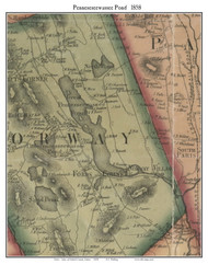 Penneseewassee Pond, Maine 1858 Old Town Map Custom Print - Oxford Co.