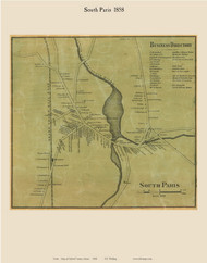 South Paris, Maine 1858 Old Town Map Custom Print - Oxford Co.