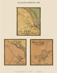Peru Village, East Peru & West Peru, Maine 1858 Old Town Map Custom Print - Oxford Co.