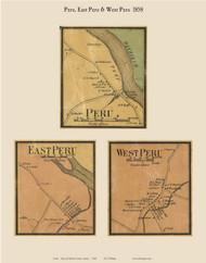 Peru Village, East Peru & West Peru, Maine 1858 Old Town Map Custom Print - Oxford Co.