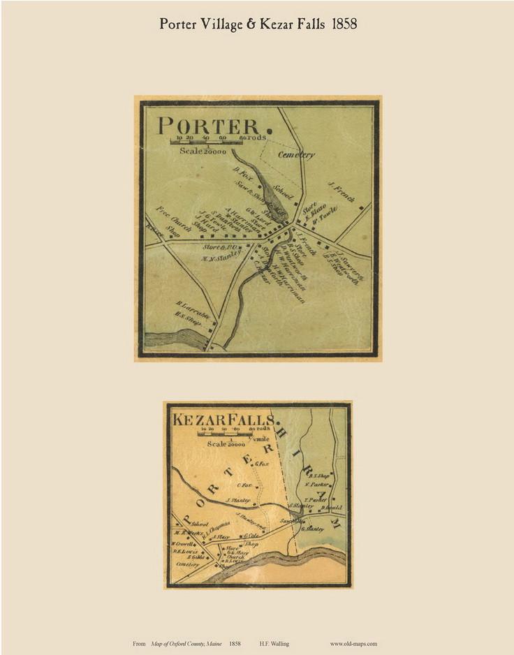 Porter Maine Map.Porter Village Kezar Falls Maine 1858 Old Town Map Custom Print