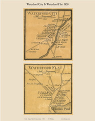 Waterford City & Waterford Flat, Maine 1858 Old Town Map Custom Print - Oxford Co.