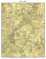 Brewer, Maine 1859 Old Town Map Custom Print - Penobscot Co.