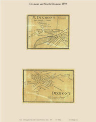 Dixmont Village & North Dixmont, Maine 1859 Old Town Map Custom Print - Penobscot Co.