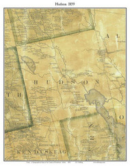 Hudson, Maine 1859 Old Town Map Custom Print - Penobscot Co.