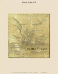 Lincoln Village, Maine 1859 Old Town Map Custom Print - Penobscot Co.