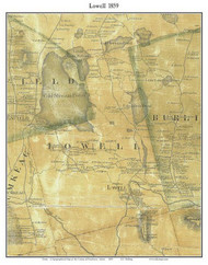 Lowell, Maine 1859 Old Town Map Custom Print - Penobscot Co.