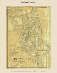 Old Town Village, Maine 1859 Old Town Map Custom Print - Penobscot Co.