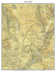 Orono, Maine 1859 Old Town Map Custom Print - Penobscot Co.