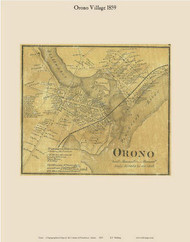 Orono Village, Maine 1859 Old Town Map Custom Print - Penobscot Co.