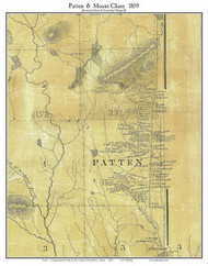 Patten & Mount Chase, Maine 1859 Old Town Map Custom Print - Penobscot Co.