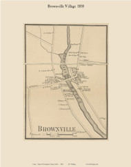 Brownville Village, Maine 1858 Old Town Map Custom Print - Piscataquis Co.
