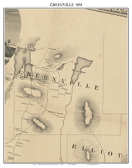Greenville, Maine 1858 Old Town Map Custom Print - Piscataquis Co.