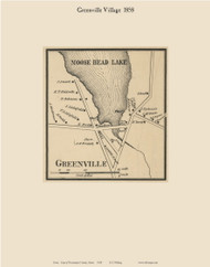 Greenville Village, Maine 1858 Old Town Map Custom Print - Piscataquis Co.