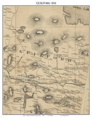 Guilford, Maine 1858 Old Town Map Custom Print - Piscataquis Co.