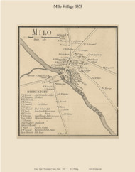 Milo Village, Maine 1858 Old Town Map Custom Print - Piscataquis Co.