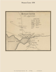 Monson Center, Maine 1858 Old Town Map Custom Print - Piscataquis Co.