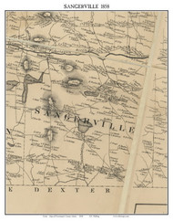 Sangerville, Maine 1858 Old Town Map Custom Print - Piscataquis Co.