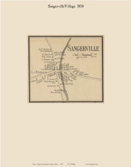 Sangerville Village, Maine 1858 Old Town Map Custom Print - Piscataquis Co.