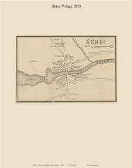 Sebec Village, Maine 1858 Old Town Map Custom Print - Piscataquis Co.