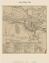 Anson Village, Maine 1860 Old Town Map Custom Print - Somerset Co.