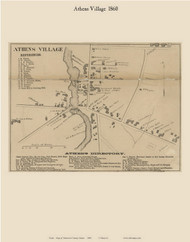 Athens Village, Maine 1860 Old Town Map Custom Print - Somerset Co.