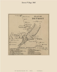 Detroit Village, Maine 1860 Old Town Map Custom Print - Somerset Co.