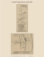 Fairfield Village & Somerset Mills, Maine 1860 Old Town Map Custom Print - Somerset Co.
