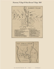 Harmony Village & Main Stream Village, Maine 1860 Old Town Map Custom Print - Somerset Co.