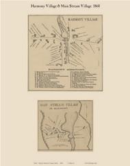 Harmony Village & Main Stream Village, Maine 1860 Old Town Map Custom Print - Somerset Co.