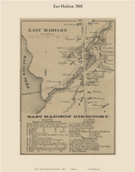 East Madison, Maine 1860 Old Town Map Custom Print - Somerset Co.