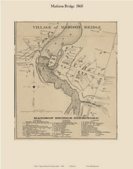 Village of Madison Bridge, Maine 1860 Old Town Map Custom Print - Somerset Co.