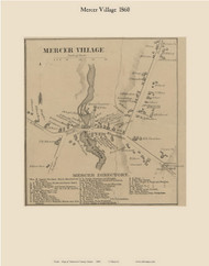 Mercer Village, Maine 1860 Old Town Map Custom Print - Somerset Co.