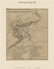 New Portland Village, Maine 1860 Old Town Map Custom Print - Somerset Co.