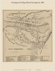 Norridgewock Village & South Norridgewock, Maine 1860 Old Town Map Custom Print - Somerset Co.
