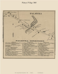 Palmyra Village, Maine 1860 Old Town Map Custom Print - Somerset Co.