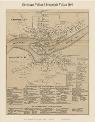 Skowhegan Village & Bloomfield Village, Maine 1860 Old Town Map Custom Print - Somerset Co.