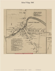 Solon Village, Maine 1860 Old Town Map Custom Print - Somerset Co.