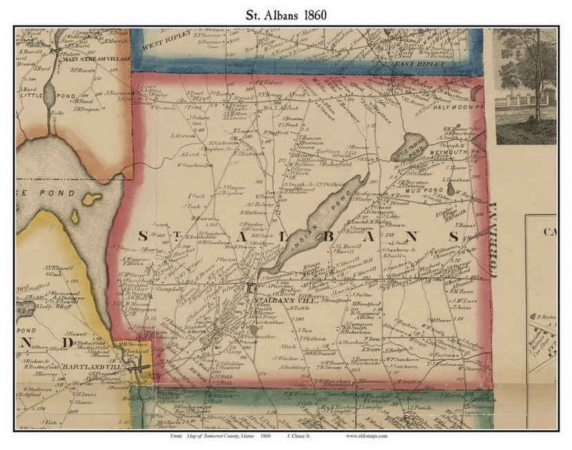 St. Albans, Maine 1860 Old Town Map Custom Print - Somerset Co ...