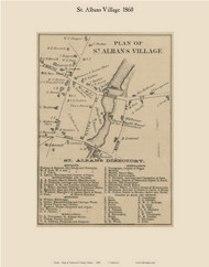 St. Albans Village, Maine 1860 Old Town Map Custom Print - Somerset Co.