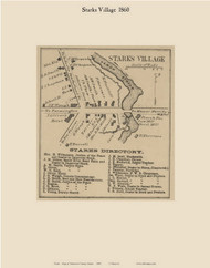 Starks Village, Maine 1860 Old Town Map Custom Print - Somerset Co.