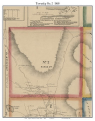 Township No. 2, Maine 1860 Old Town Map Custom Print - Somerset Co.