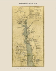 Part of Belfast Village, Maine 1859 Old Town Map Custom Print - Waldo Co.