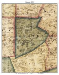 Brooks, Maine 1859 Old Town Map Custom Print - Waldo Co.
