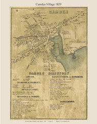 Camden Village, Maine 1859 Old Town Map Custom Print - Waldo Co.